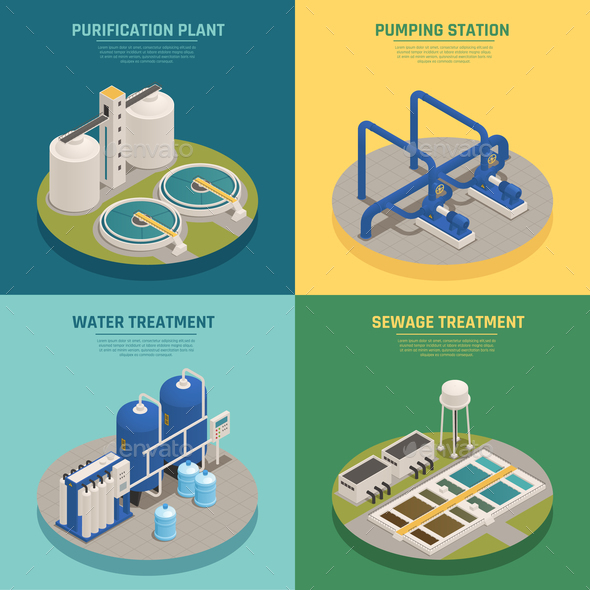 Wastewater Purification Isometric Icons Square - Industries Business