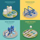 Wastewater Purification Isometric Icons Square