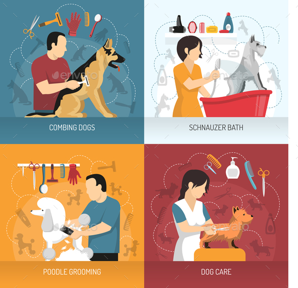 Dog Care Design Concept - Animals Characters