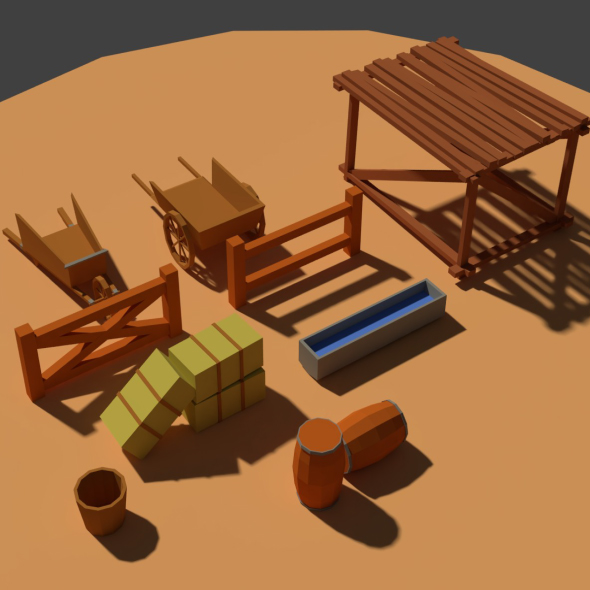 Low Poly Farm Miscellaneous - 3DOcean Item for Sale