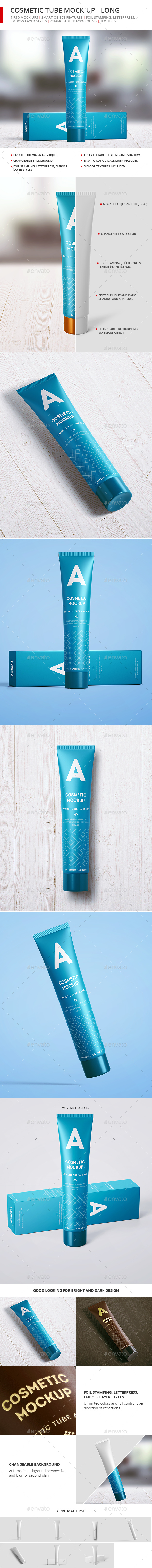 Cosmetic Tube Mock-up - Long - Beauty Packaging