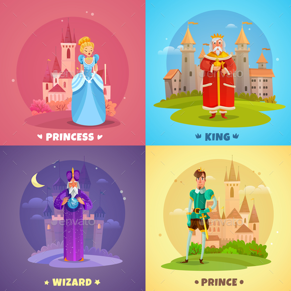 Fairytale Characters 2x2 Design Concept - People Characters