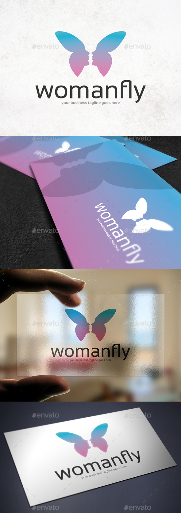Woman Butterfly Logo Template - Company Logo Templates