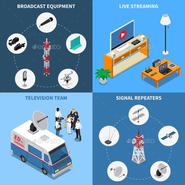 Telecommunication 2x2 Icons Set - Communications Technology