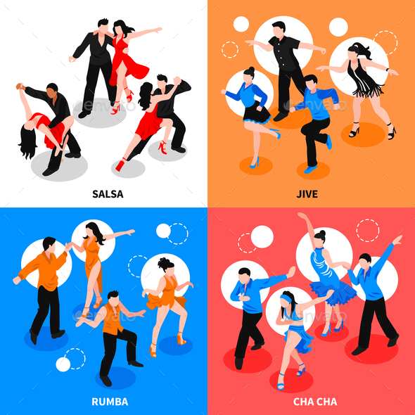 Dance Isometric People Concept - People Characters
