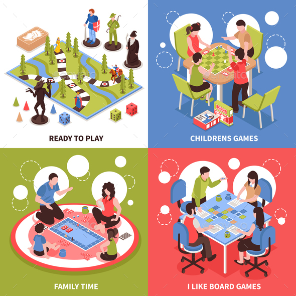 Board Games Isometric Design Concept - People Characters