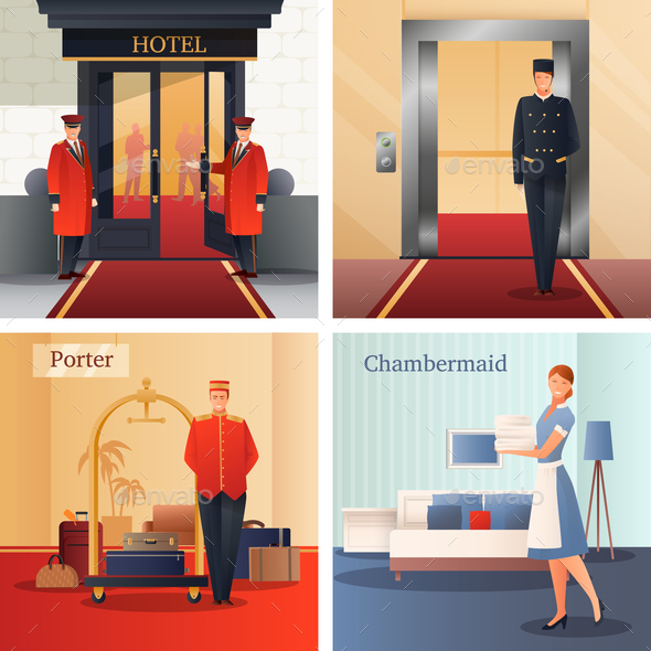Hotel Staff Design Concept - People Characters