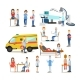 Group of Medical Doctors, Paramedics and Patients - GraphicRiver Item for Sale