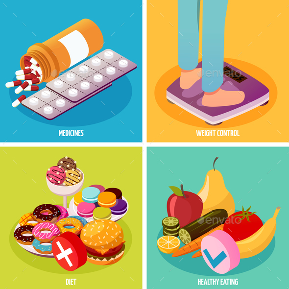 Diabetes Control Isometric Design Concept - Food Objects