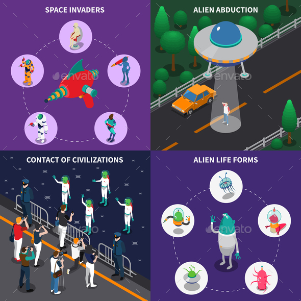 Alien Characters 2x2 Isometric Set - Miscellaneous Vectors