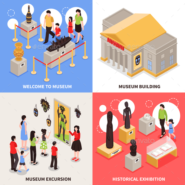 Museum Isometric Design Concept - Buildings Objects