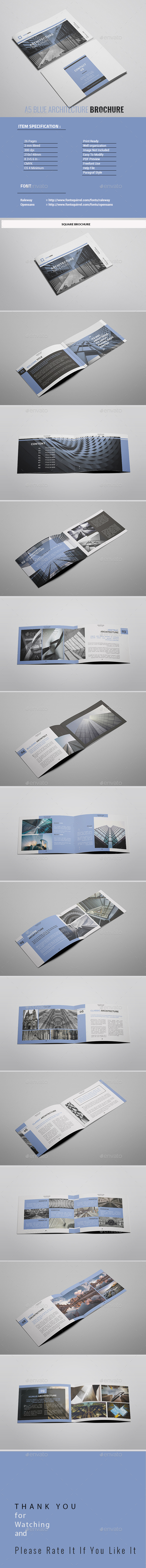 A5 Blue Architecture Brochure - Portfolio Brochures