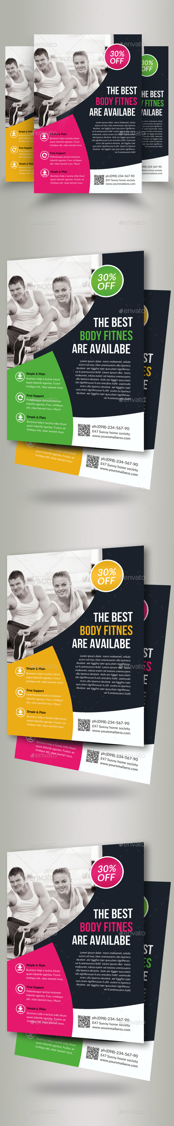 Body Fitness Club Flyers - Flyers Print Templates