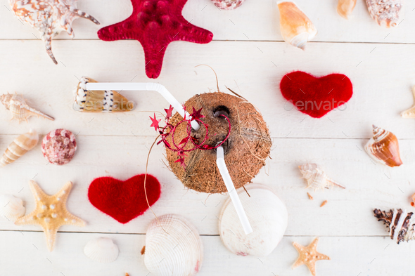 Coconut cocktail. Valentine day. - Stock Photo - Images