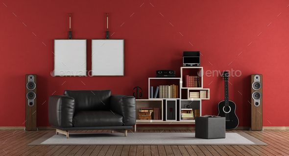 Red music room - Stock Photo - Images