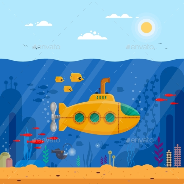 Yellow Submarine with Periscope Underwater Concept - Animals Characters