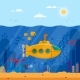 Yellow Submarine with Periscope Underwater Concept - GraphicRiver Item for Sale