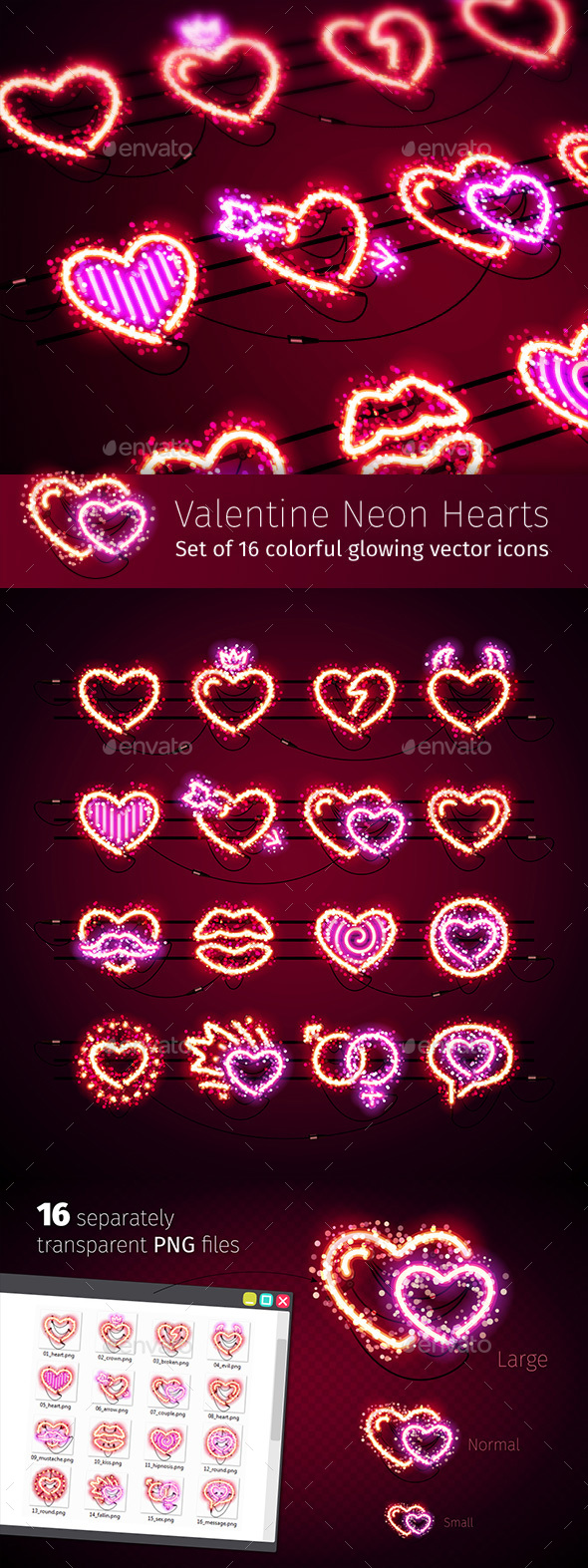 Valentine Icons with Glitter - Miscellaneous Icons