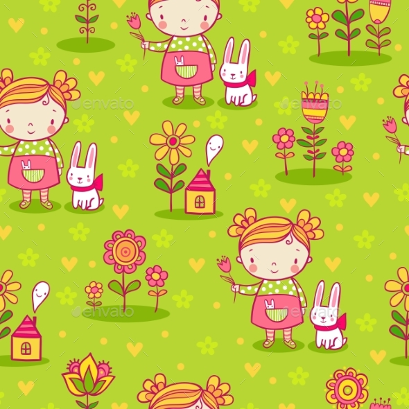 Girl and Flowers Seamless Pattern - Flowers & Plants Nature