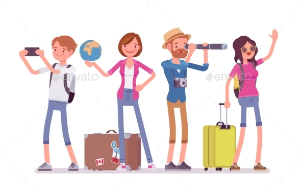 Travelers Group with Luggage - Travel Conceptual