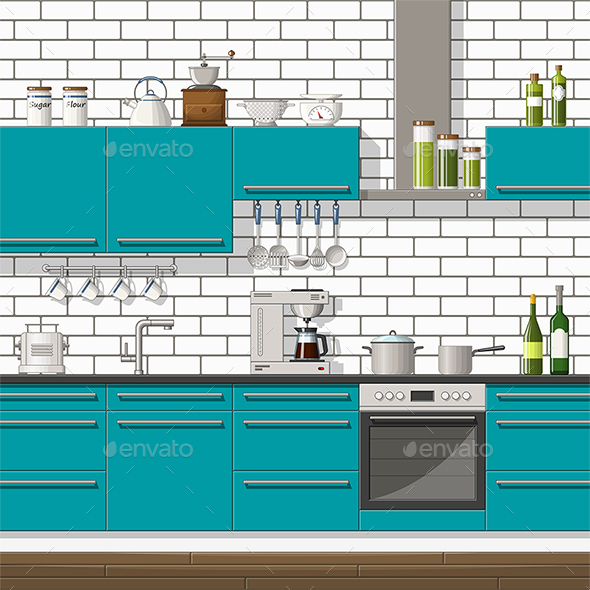 Illustration of a Modern Kitchen - Miscellaneous Vectors