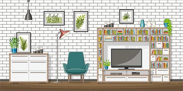 Modern Living Room - Miscellaneous Vectors