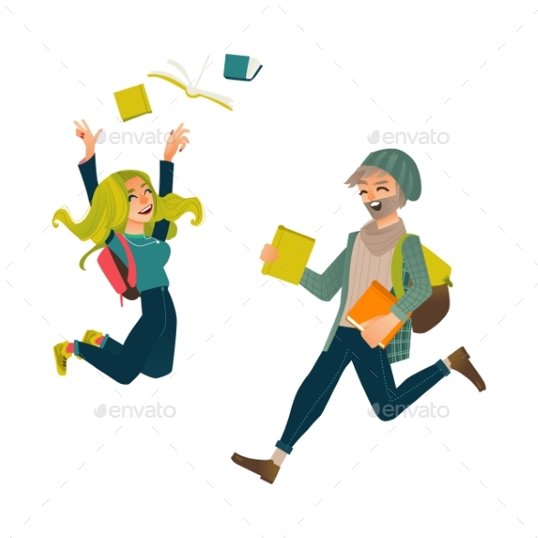 Students, Boy and Girl, Jumping From Happiness - People Characters