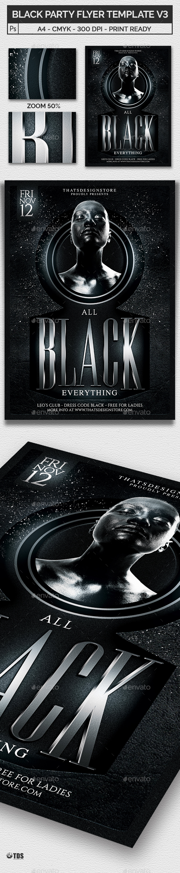 Black Party Flyer Template V3 - Clubs & Parties Events