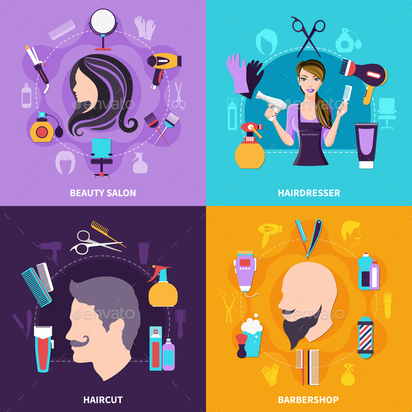 Hairdresser Concept Set - People Characters