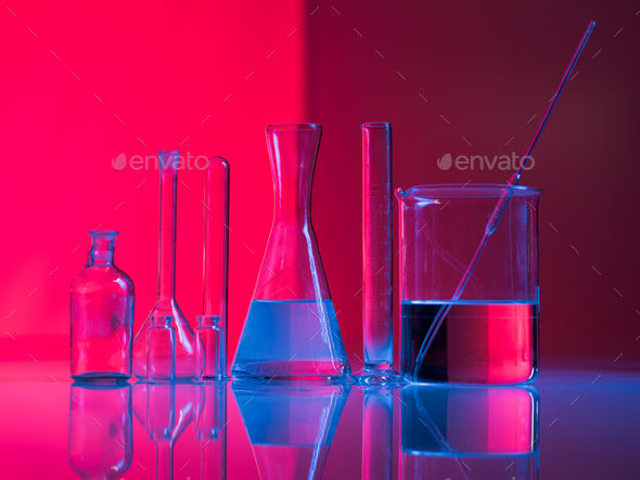 A set of glass labware on table - Stock Photo - Images