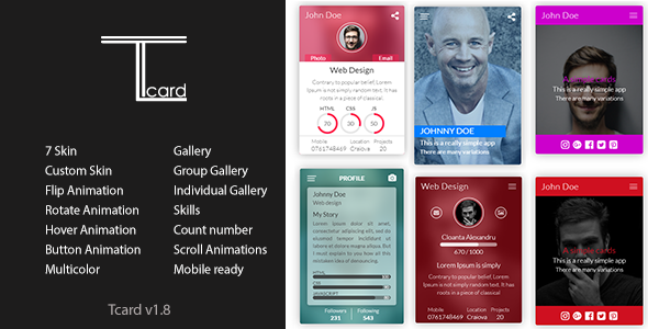 Tcard - Simple jQuery Plugin for Creating Cards - CodeCanyon Item for Sale