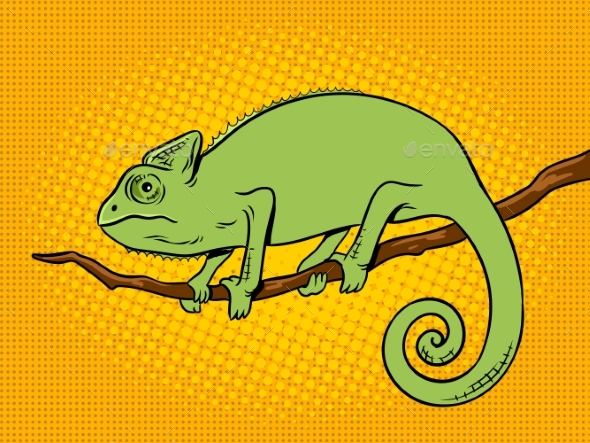 Chameleon Animal Color Pop Art Vector Illustration - Animals Characters