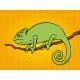 Chameleon Animal Color Pop Art Vector Illustration