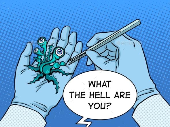 Hands Alien Plant Creature Up Pop Art Vector - Technology Conceptual