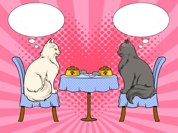 Cats on Date in Cat Restaurant Pop Art Vector - Animals Characters
