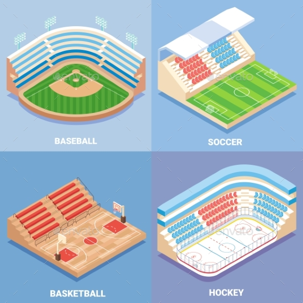 Sport Stadium Vector Flat Isometric Icon Set - Sports/Activity Conceptual
