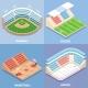 Sport Stadium Vector Flat Isometric Icon Set - GraphicRiver Item for Sale