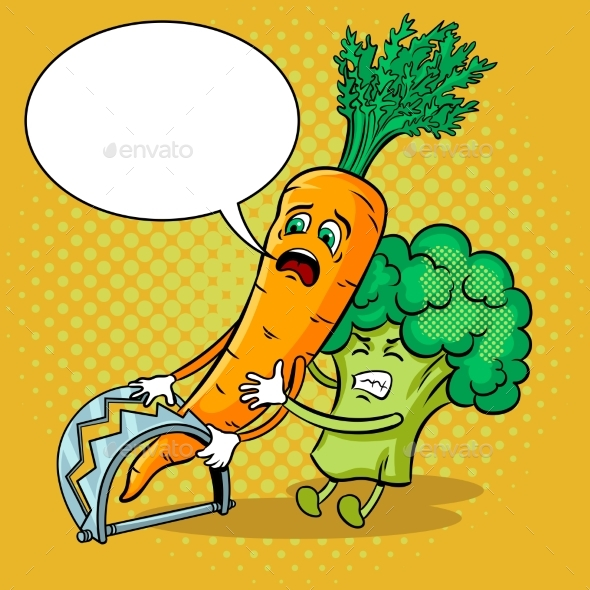 Carrot in Trap Pop Art Vector Illustration - Food Objects