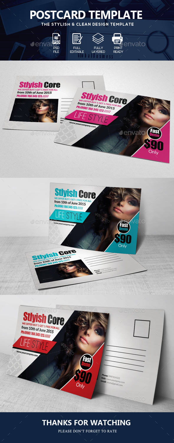 Beauty Salon & Fashion Post Card - Cards & Invites Print Templates