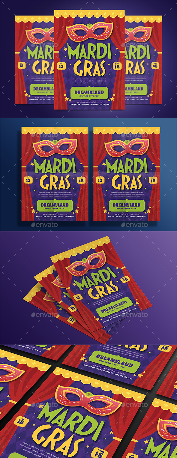 Modern Mardi Grass Flyer - Events Flyers