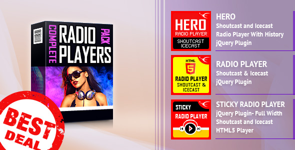 ShoutCast and IceCast HTML5 Radio Players Bundle - CodeCanyon Item for Sale