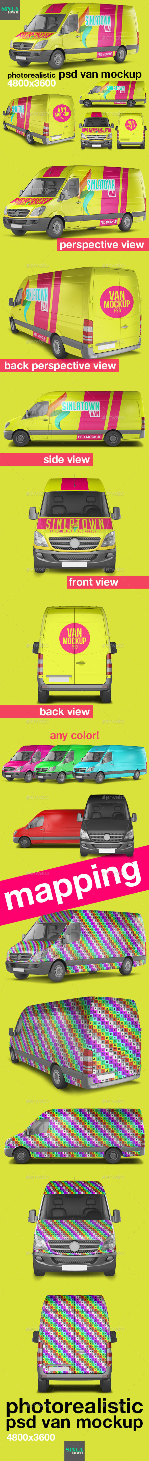 Photorealistic PSD Van Mockup - Vehicle Wraps Print