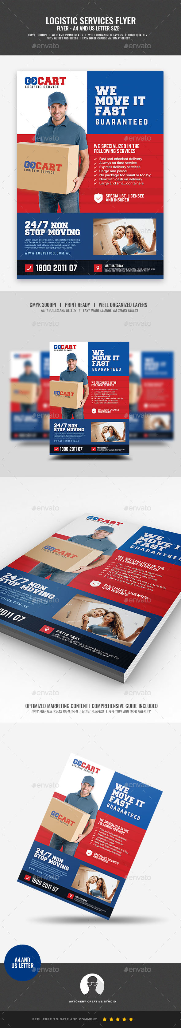 Delivery Cargo Courier Promotional Flyer - Corporate Flyers