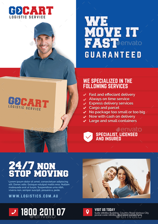 delivery cargo courier promotional flyer by artchery