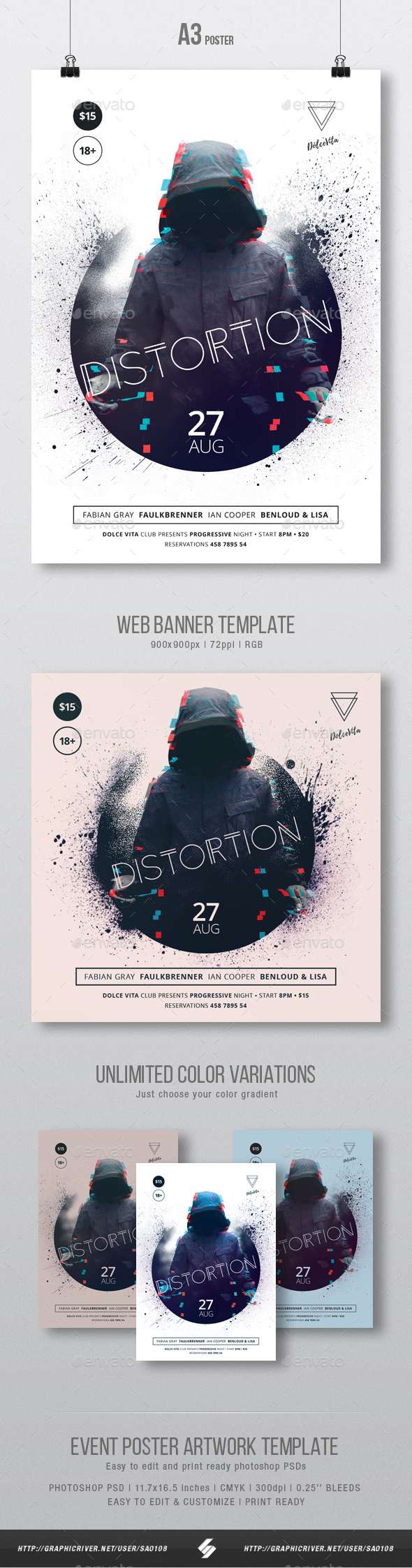Distortion - Underground Party Flyer / Poster Template A3 - Clubs & Parties Events