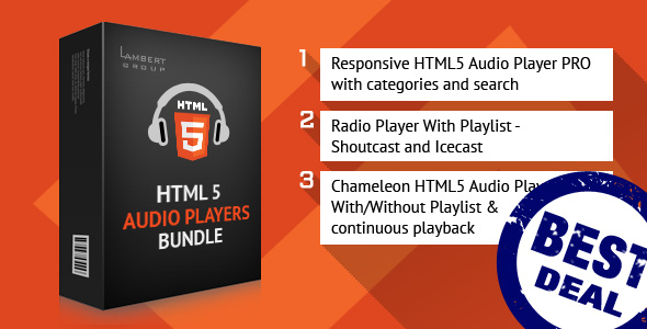 HTML5 Responsive Audio Players Bundle - CodeCanyon Item for Sale