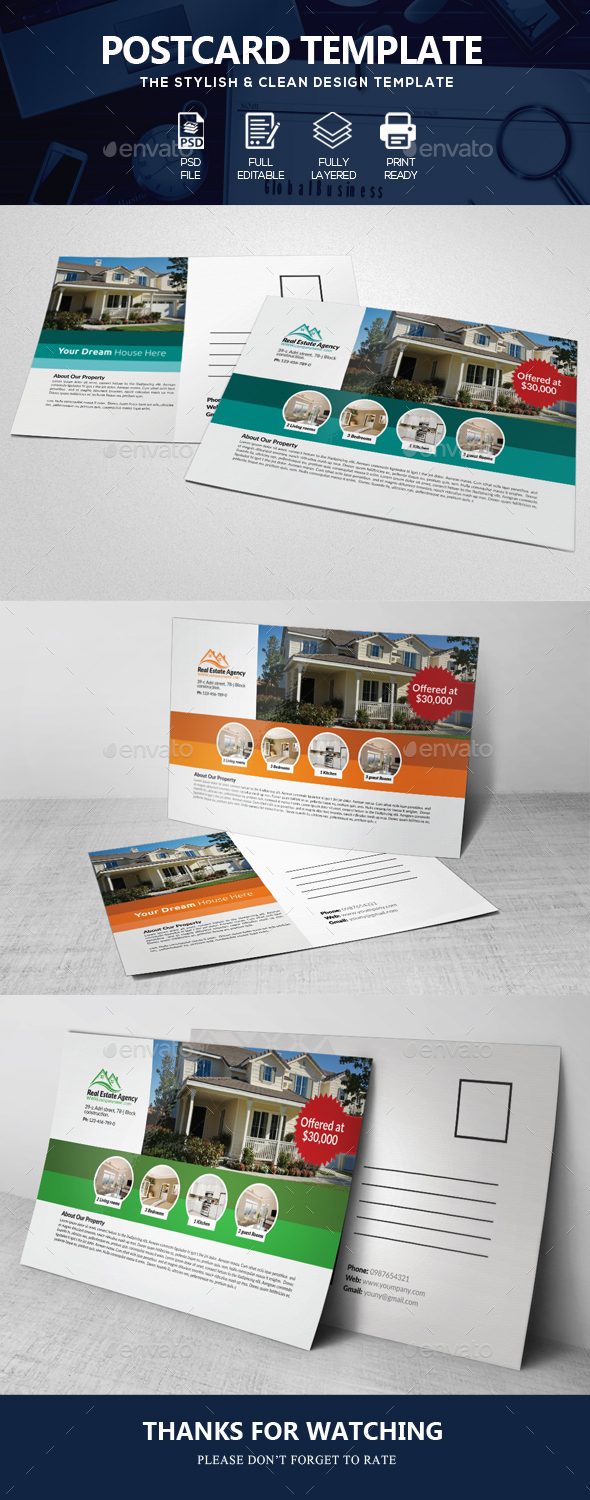 Real Estate Agency Post Card - Cards & Invites Print Templates