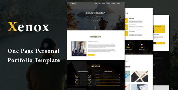 Xenox - One Page Personal Portfolio Template Free Download | Nulled