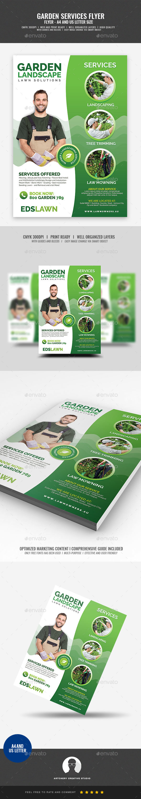 Commercial Landscaping and Garden Care Flyer - Corporate Flyers