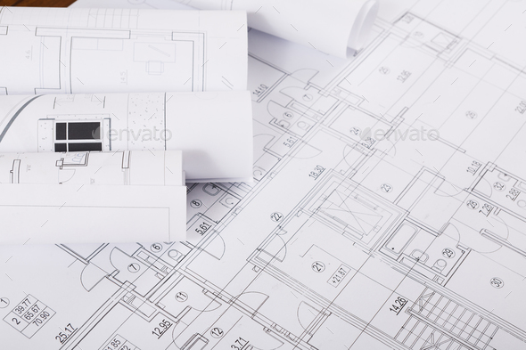Plan Of Building Architectural Project Background Stock Photo By